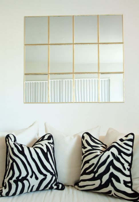 Create A Mirror Wall Using Command Strips And 1 00 Mirror Squares Come Edge In Gold Black Or Silver Matte Renters Solutions Home Diy Home Decor
