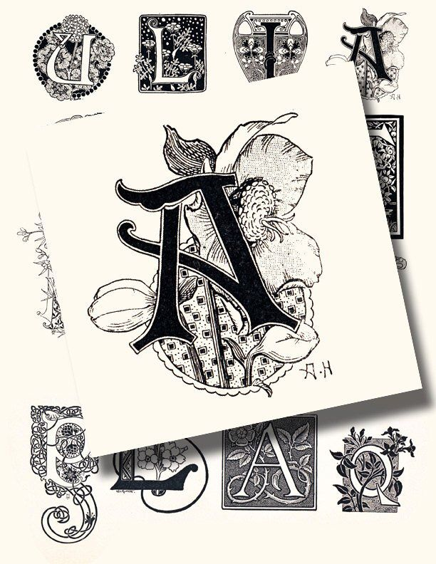 Art nouveau letters, a vintage printable digital collage sheet, perfect for junk journal and scrapbooking, no. 1017
