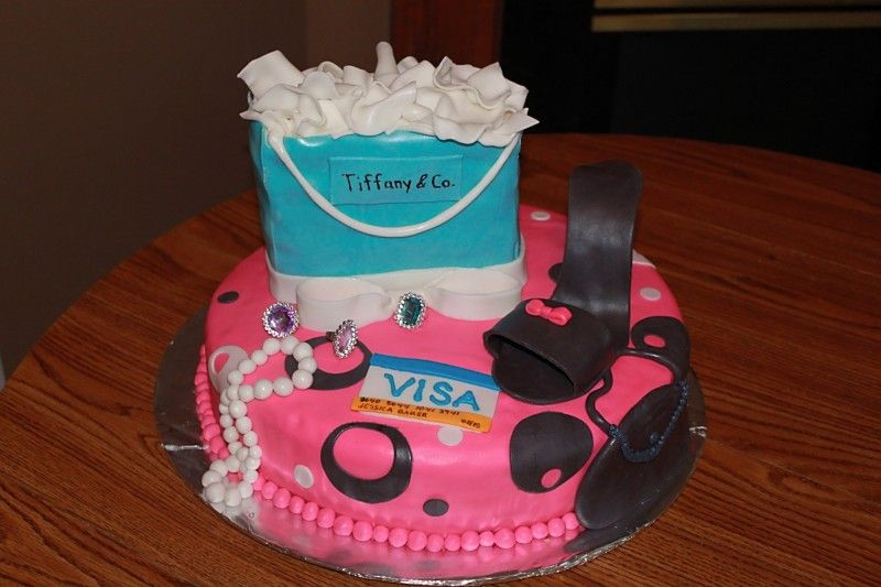 Fun 30th Birthday Cake for a Girl who loves to shop cakes