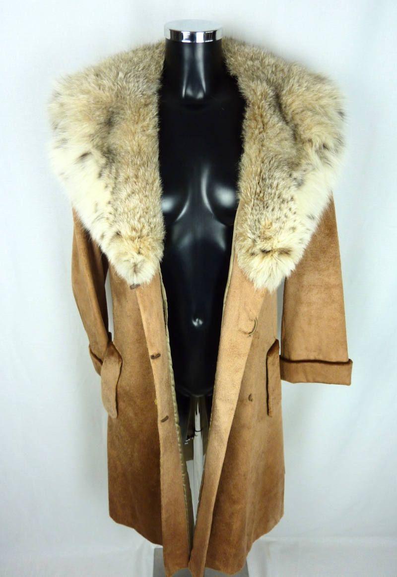 Manteau en cuir marron vintage 1970 avec col en fourrure