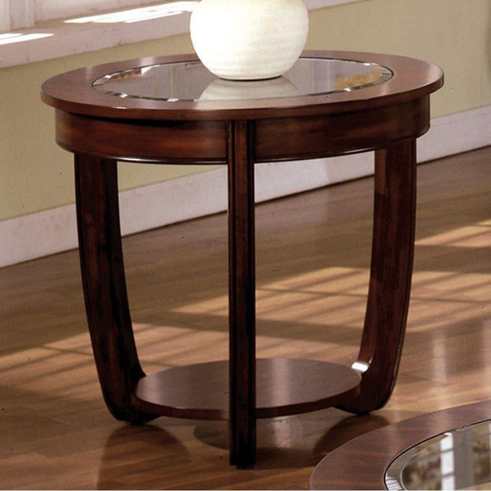 Benzara crystal falls transitional coffee table dark cherry