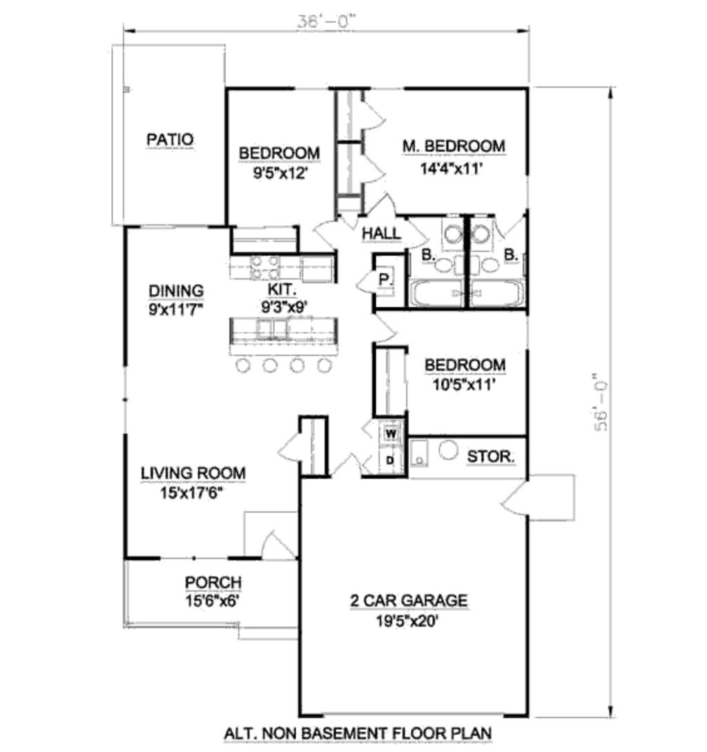 Bungalow Style House Plan 3 Beds 2 Baths 1216 Sq Ft Plan 116
