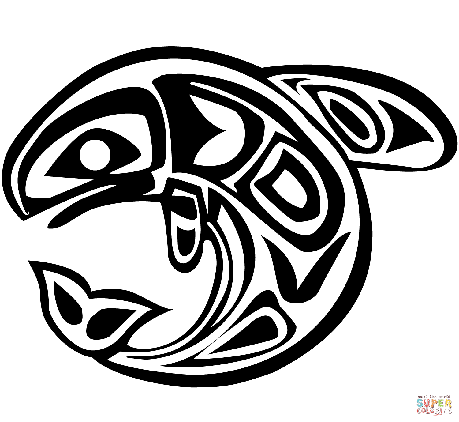 Haida Art  Whale coloring page from Canadian Aboriginal
