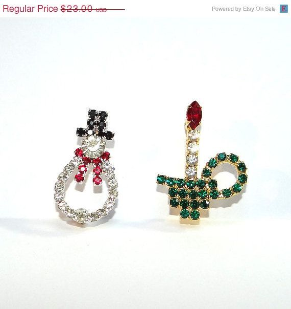 Snowman & Candle Vintage Rhinestone Christmas by Betsysbijoux