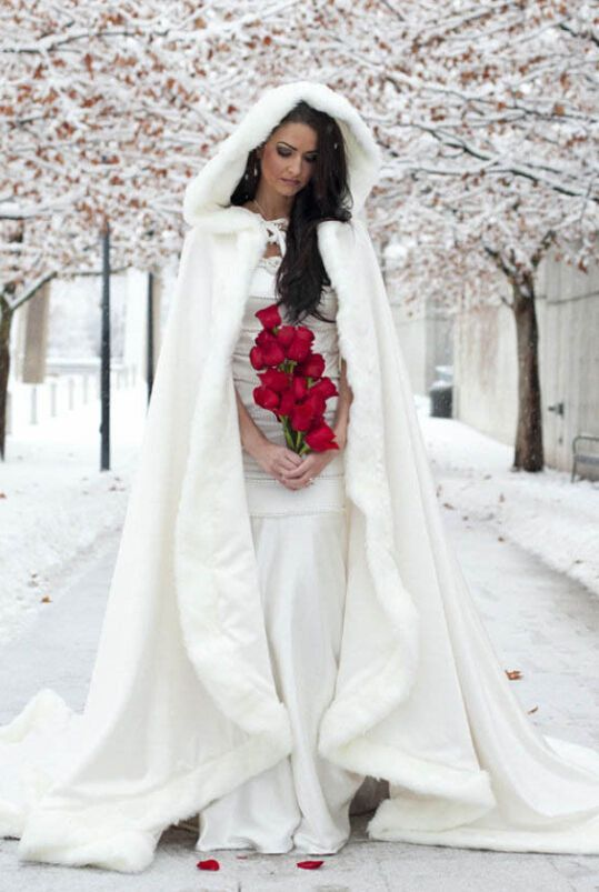 Long Bridal Coats Winter Wedding Dress Hooded Cloak Cape Faux Fur Mantles