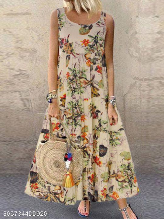 Cuello Redondo Estampado Floral Vestidos De Verano Informal Vestidos Largos Florales Vestidos De Mujer