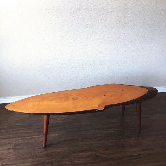 Mid Century Coffee Table 60s Home Decor Round Vintage Live Edge