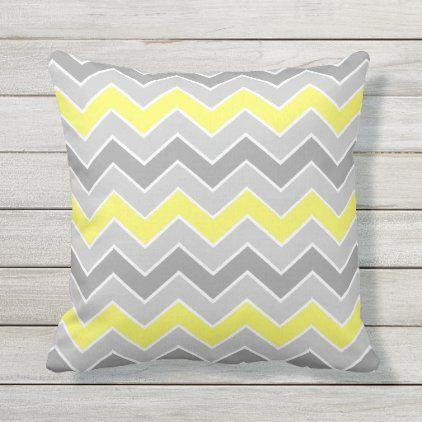 Chic Gray Yellow Chevron Zigzag Pattern Outdoor Pillow