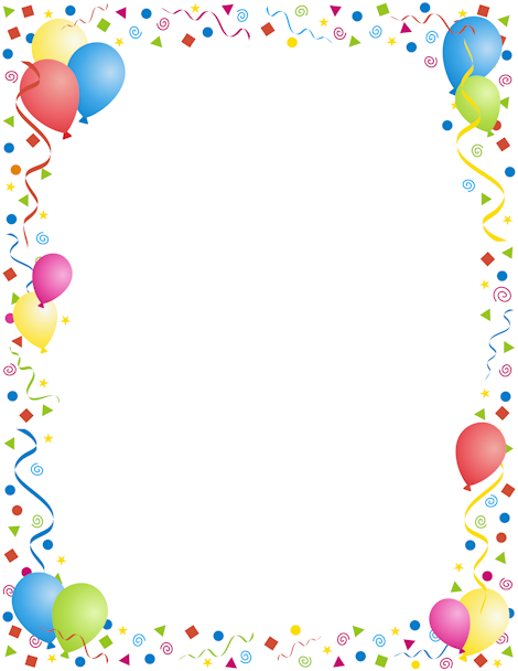 a page border with a party theme use for new years birthdays or