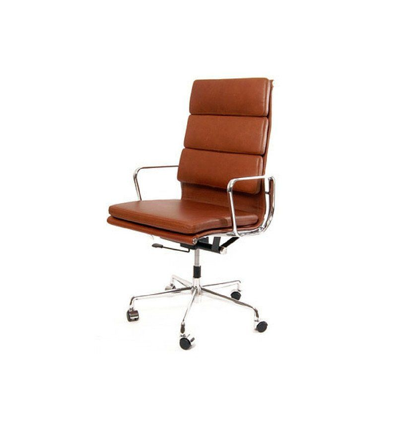 High Back Tan Italian Leather Office Chair Inspired By Eames Ea219 Onske