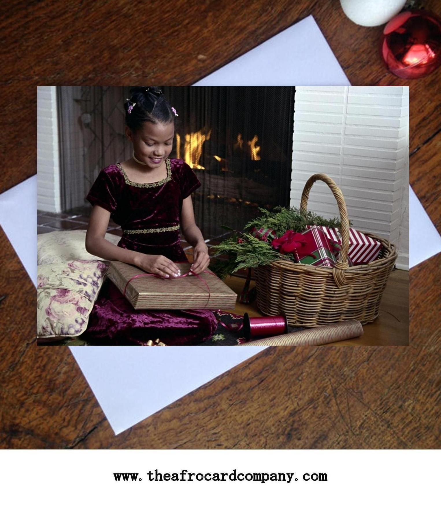 Christmas greeting card with african american young girl opening quality black people greeting cards for all occasions celebrating black british african caribbean african american and dual heritage people m4hsunfo