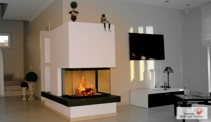 heizkamin 3 seiter mit naturstein ofen kamin fireplace heizkamine modern. Black Bedroom Furniture Sets. Home Design Ideas