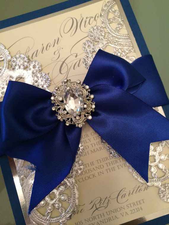 Wedding Invitations Royal blue and silver by AlexandriaLindo 20th