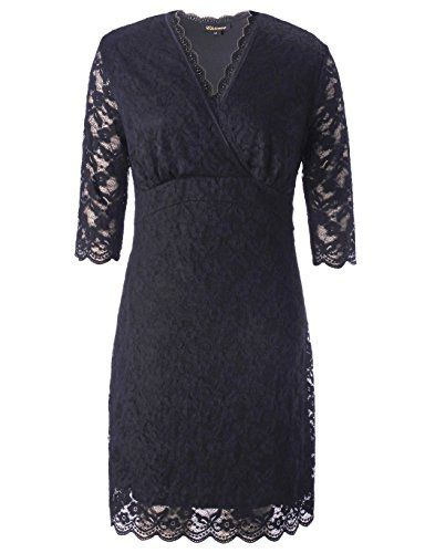 c924ab6a770228 Chicwe #Women Plus Size Stretch Scalloped Solid Lace Dress - Knee Length  Casual Party Cocktail Dress 4X
