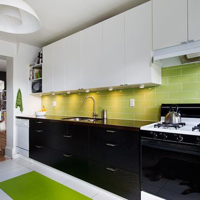 Lime Green Backsplash With White Top And Black Bottom Cabinets