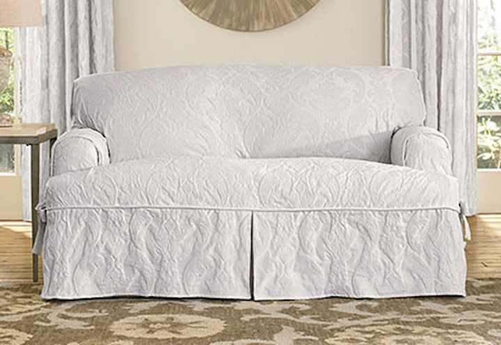 Awesome Sure Fit Matelasse Damask One Piece Sofa White Slipcover For T  Seat  Cushion #SureFit #MatelasseDamask