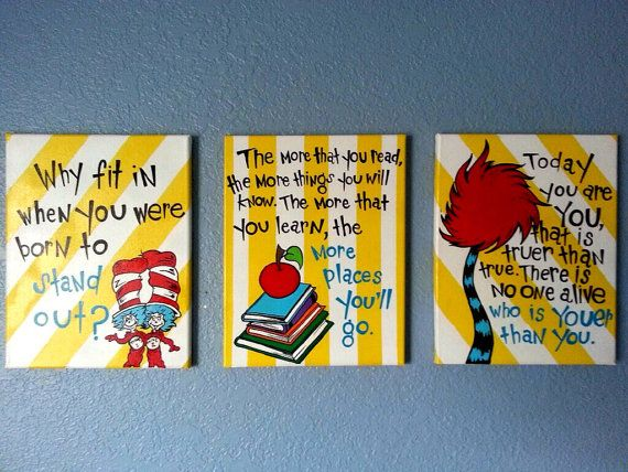 Dr. Seuss Wall Art for Children\'s Room by PaintedbyLinda on Etsy ...