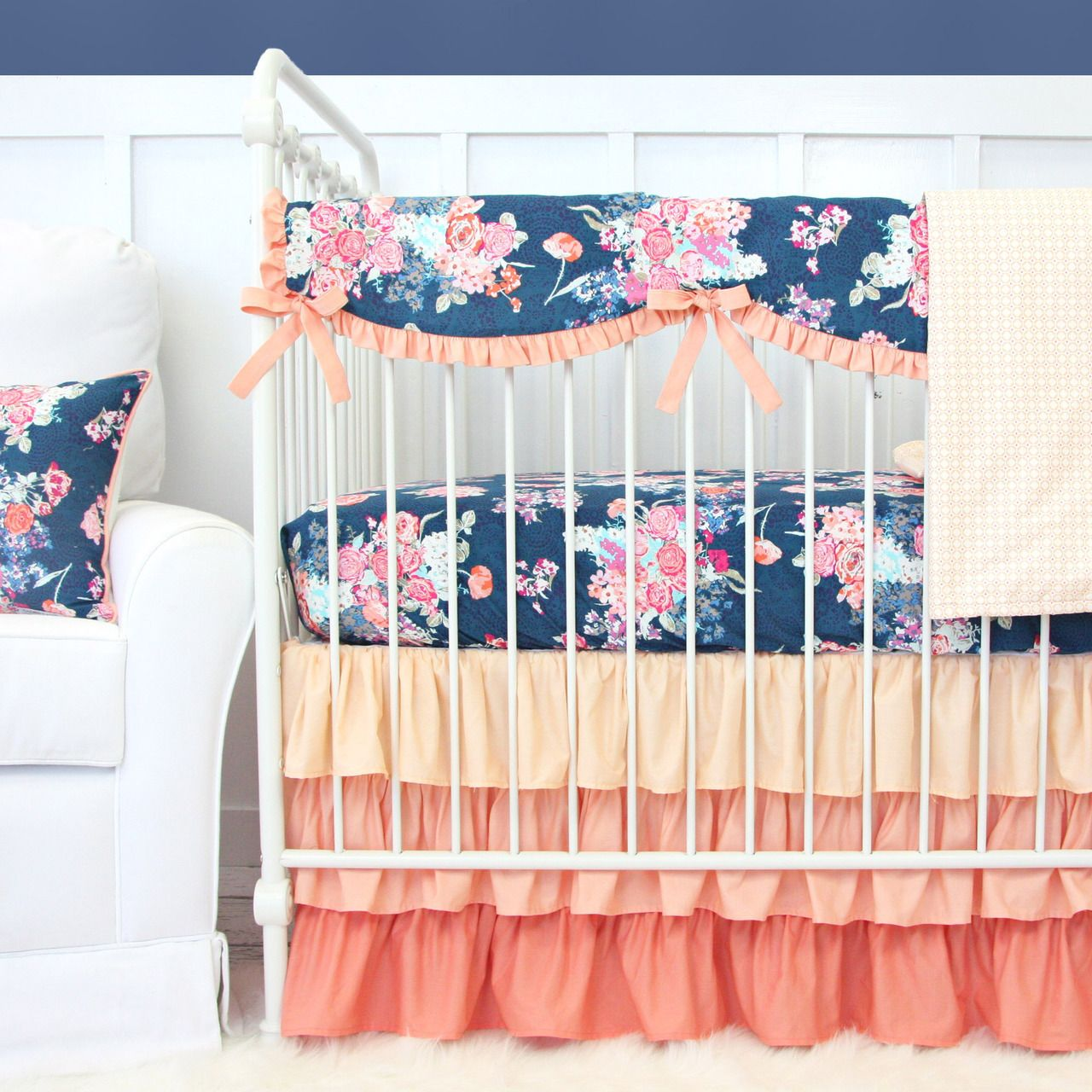 Baby girl bedding blue - Charleigh S Coral Navy Floral Bumperless Crib Bedding Baby Girl