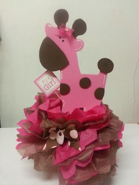 Pink Safari Baby Shower Ideas | Pink Giraffe Centerpiece