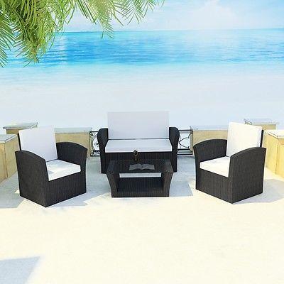 Poly Rattan Gartenmöbel Sitzgruppe Lounge Sessel Sitzgarnitur