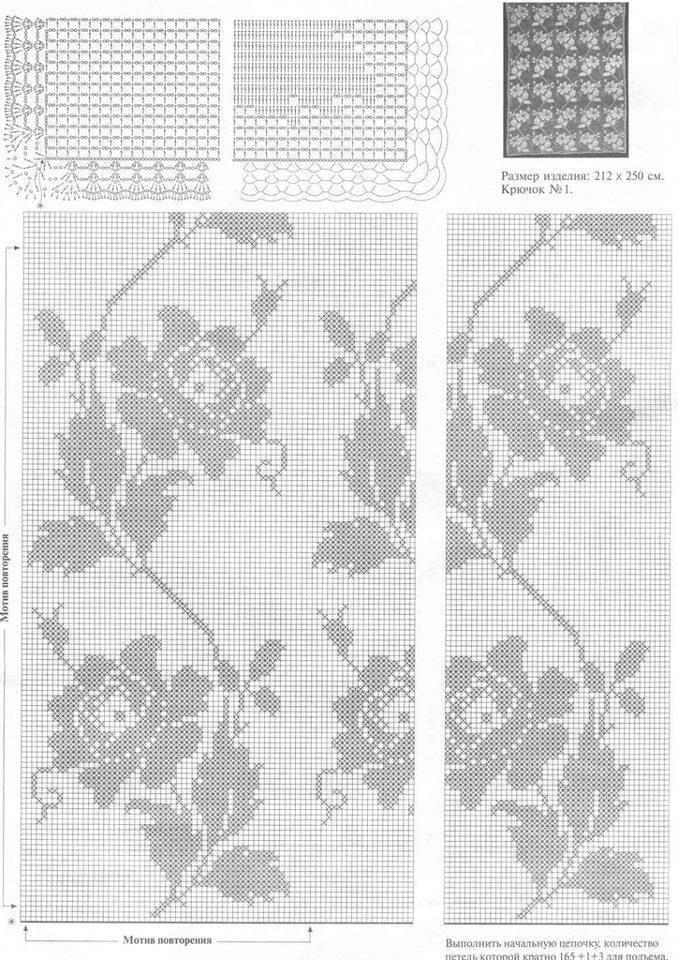 Filet Crochet Pattern | tel kırma | Pinterest | Cortinas, Ganchillo ...