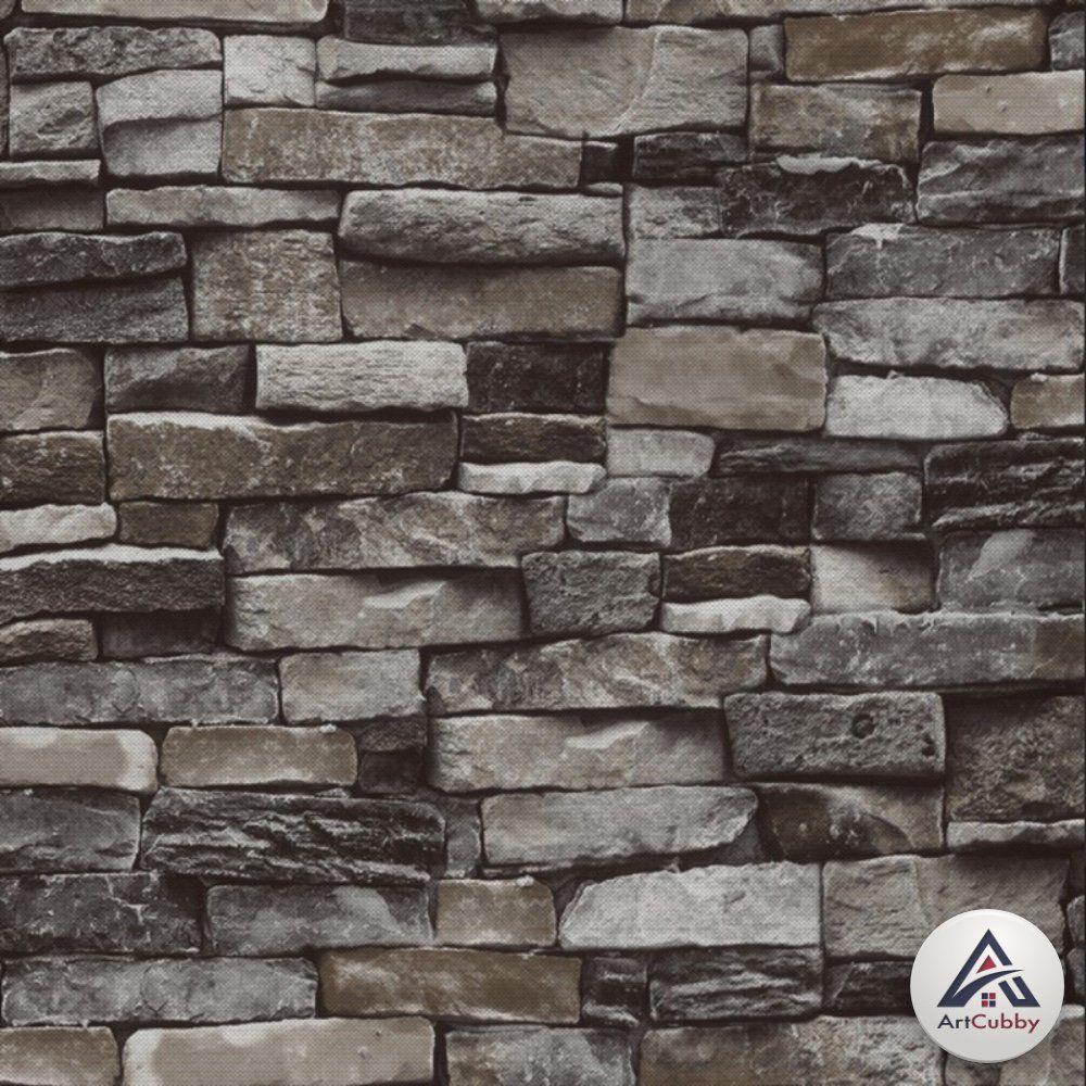 Rustic Stone Bricks Textured Wallpaper, Vintage Brick