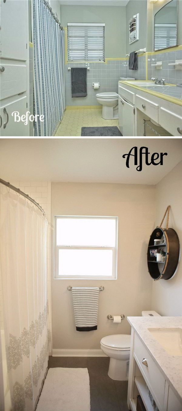 Before And After 31 Amazing Bathroom Makeovers Page 24 Foliver Blog Simple Bathroom Remodel Full Bathroom Remodel Diy Bathroom Remodel