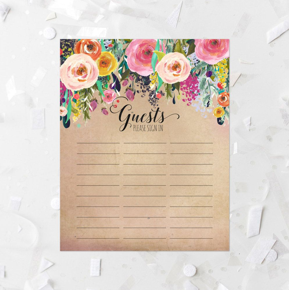 guest list printable floral antique guest list sheet guest sign in sheet bridal shower guest list baby shower guest list wedding pink 223 by