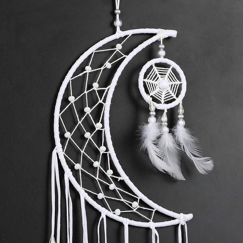White Moon Dream Catcher Bohemian Decor Quarter Moon Dream | Etsy