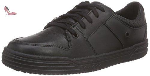 Sneakers Jnr Basses Garçon Noir Cuir Rail Clarks Chad Noirci nB4wF