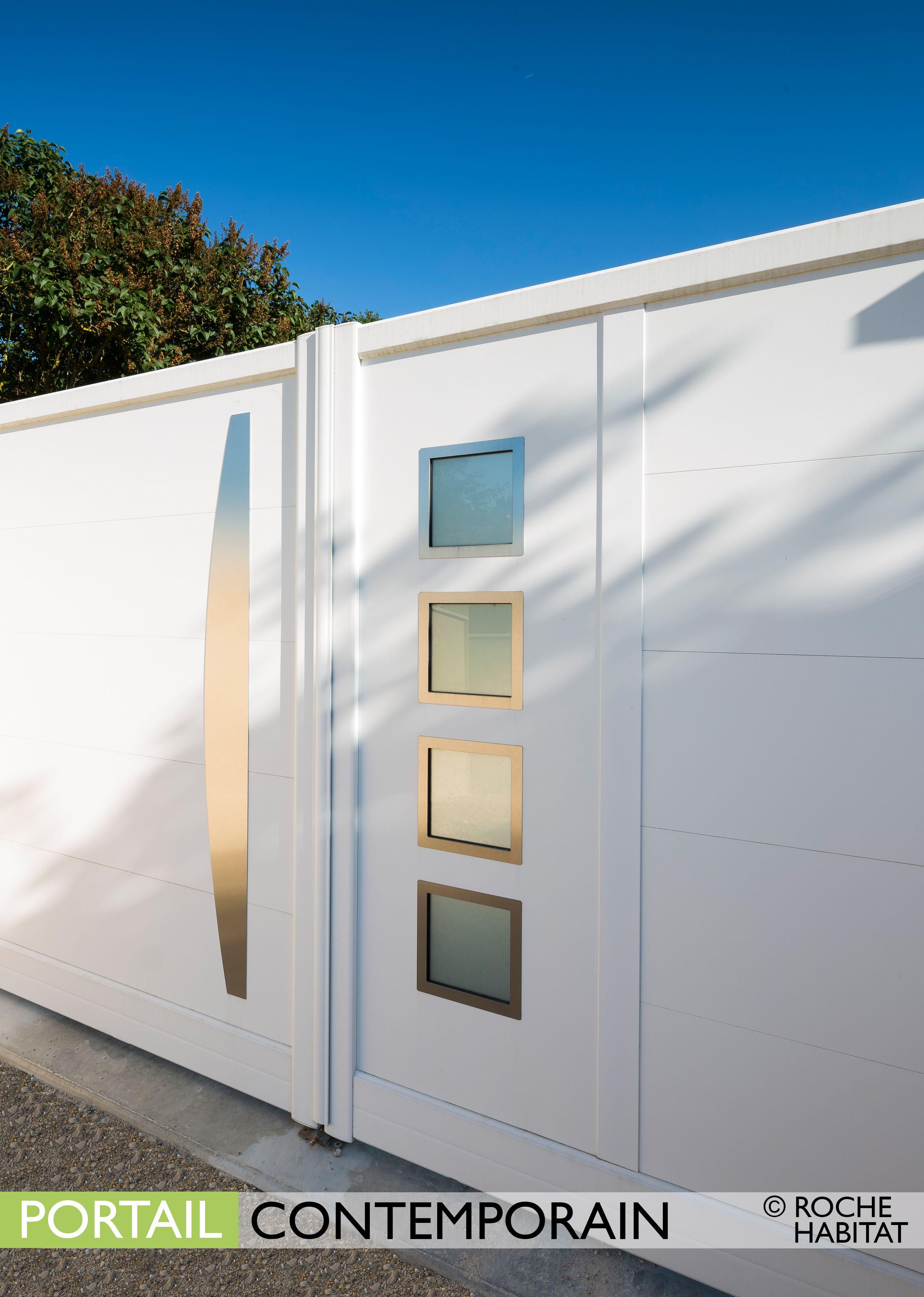 Portail Contemporain by Roche Habitat. Le portail New York est composé d un  remplissage plein à lames larges (340 mm) horizontales et d une ou deux  zones de ... 79fc9d61f089