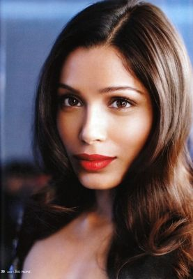 frieda pinto neutral and red lips