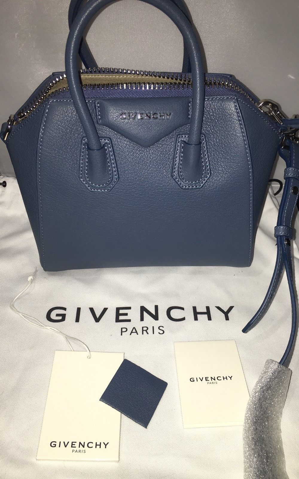 632c2e3c2c Givenchy Pre-Owned Mini Antigona Blue Sugar Leather Satchel  1