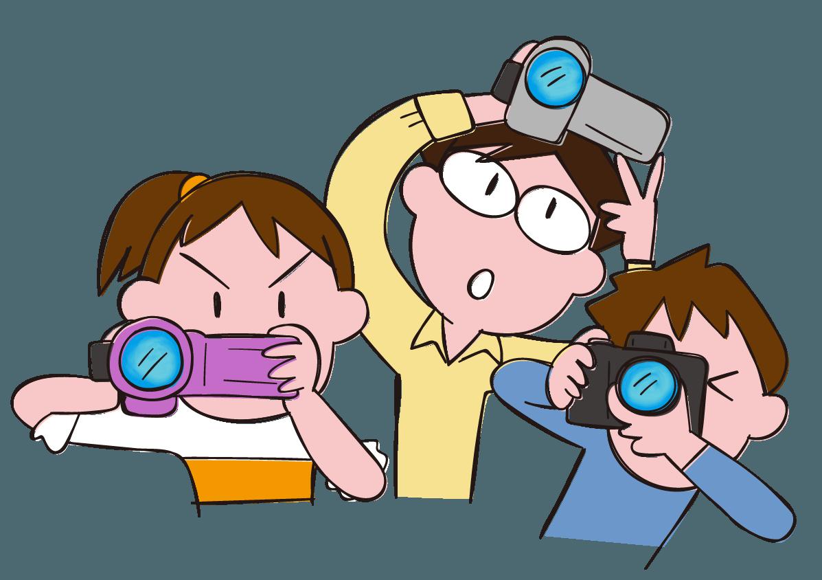 激写! ビデオやカメラで子どもを撮影する親たち イラスト | gogon's