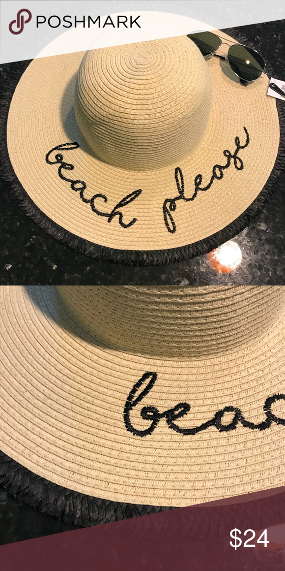 """d249a761 NWT """"Beach Please"""" Floppy Straw Sun Hat Brand new with tags! Perfect straw  hat for the beach or pool this summer! Pet free and smoke free home."""