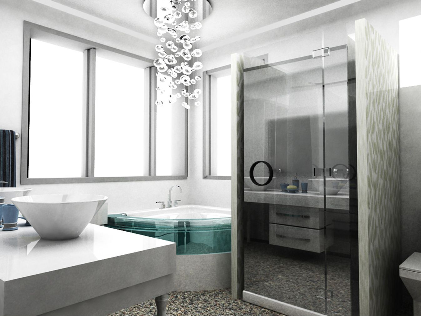 Cool Master Bathroom Design in 3D by Miss Alice Designs | 3D ...