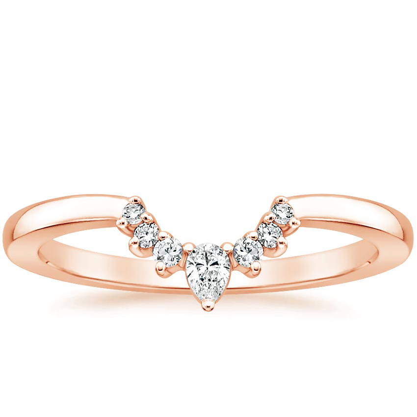 14k Rose Gold Lunette Diamond Ring In 2020 Diamond Wedding Bands White Gold Rings Ladies Diamond Rings