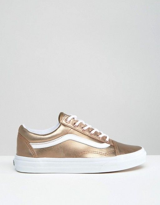 28175332 Vans Unisex Exclusive Rose Gold Metallic Old Skool Trainers ...
