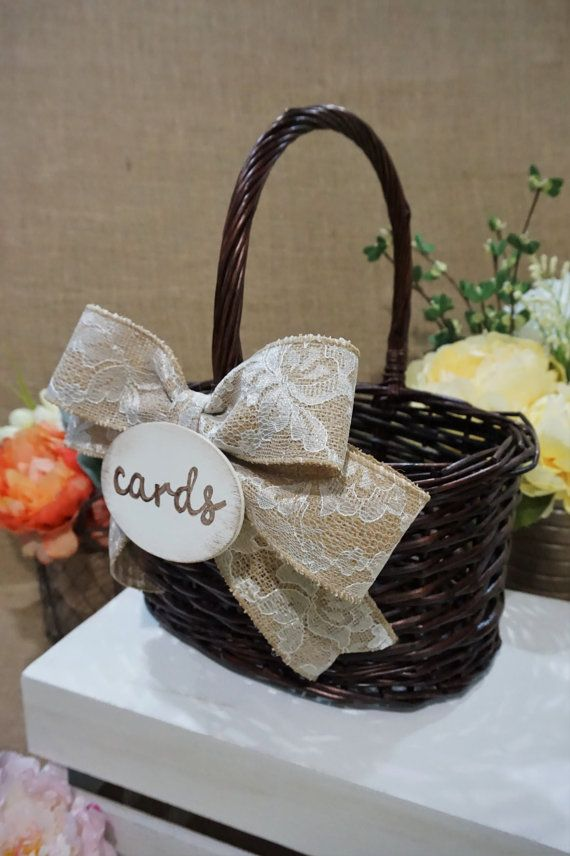LARGE Brown Willow Card Basket Wedding By BridalByWreathDreams