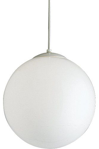 Retro Style Opal Glass Globe Fixture Suspended From A White Cord 14 In Diameter Pendant