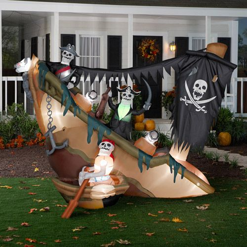 animated airblown halloween inflatable skeleton pirates on shipwreck - Pirate Halloween Decorations