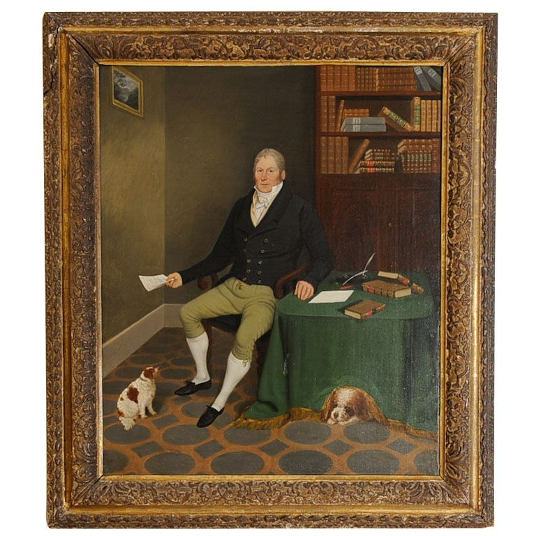 Portrait of a Gentleman in his study, by Edmund Ward Gill  England  1830  British Portrait of a seated Gentleman at Desk w/ 2 King Charles Spaniels, Oil on Canvas signed on back right corner of canvas by Edmund Ward Gill (1794-1854) Lined  image 24x30.  Edmund Ward Gill, artist of the United Kingdom, 1794-1854