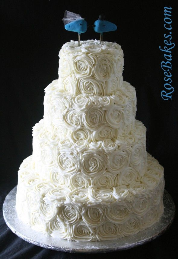 Rustic Elegant Ivory Ercream Roses Wedding Cake With Blue Lovebirds Topper