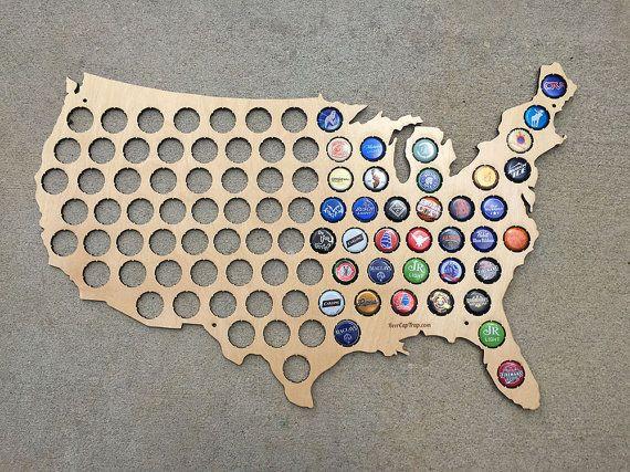 Us Bottle Cap Map The Original Beer Cap Map of USA Display Beer Caps Craft Beer Cap