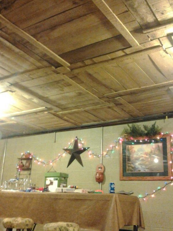 DIY Basement Ceiling With Old Pallet Crate Lids.
