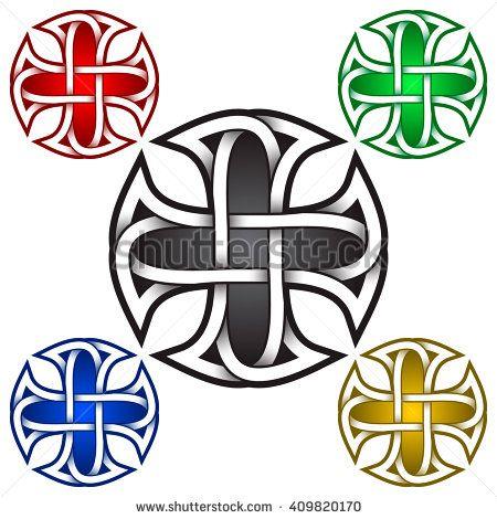 Cruciform Logo Symbol In Celtic Style Tribal Tattoo Symbol