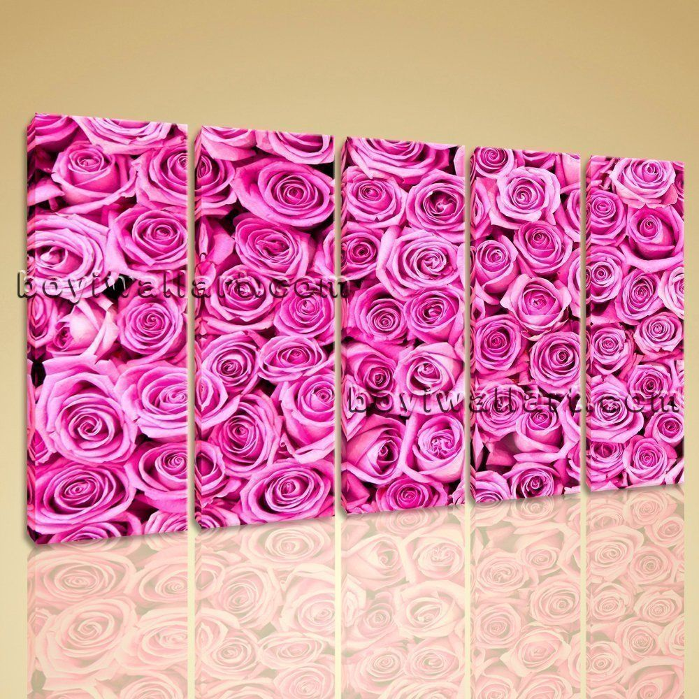 Pink rose flowers abstract floral painting on canvas hd print mural