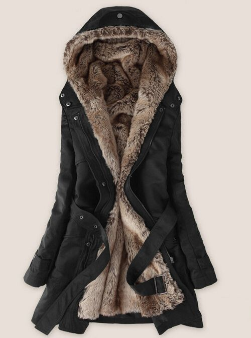 Faux fur lining women's fur Hoodies Ladies coats winter warm long coat jacket cotton clothes thermal parkas Free Shipping WWM056
