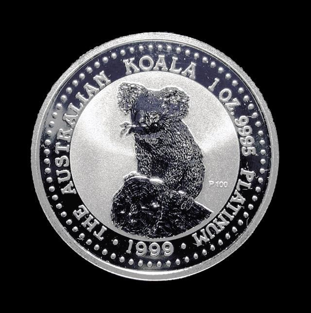 Australian Platinum Koala. The Australian Koala was originally minted in 1988. The obverse features a portrait of Queen Elizabeth II. She is encircled by her name, the name of the country, and the denomination. The reverse design of the Koala changes annually. These 99.95% pure platinum coins enjoy legal tender status as outlined in the Australian Currency Act 1965. Origin: Australia | Year: 1999. Call for a price quote today - 949.251.1366. See more at londoncoin.com