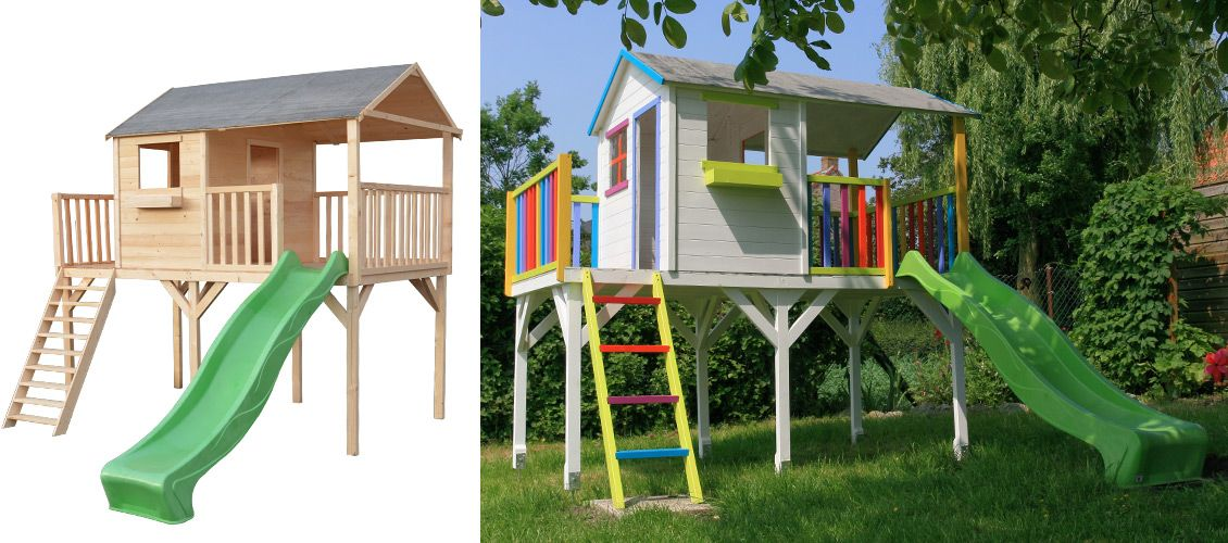 maisonnette sacha en bois avec toboggan vert maisonnette bois terrasse couverte et toboggan. Black Bedroom Furniture Sets. Home Design Ideas